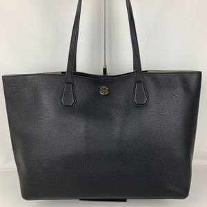 New Tory Burch Perry Black Leather Tote 30749